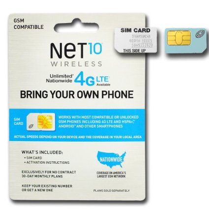 Net 10 Plans >> Net 10 Nano Sim Card With One Month Of Service Nationwide